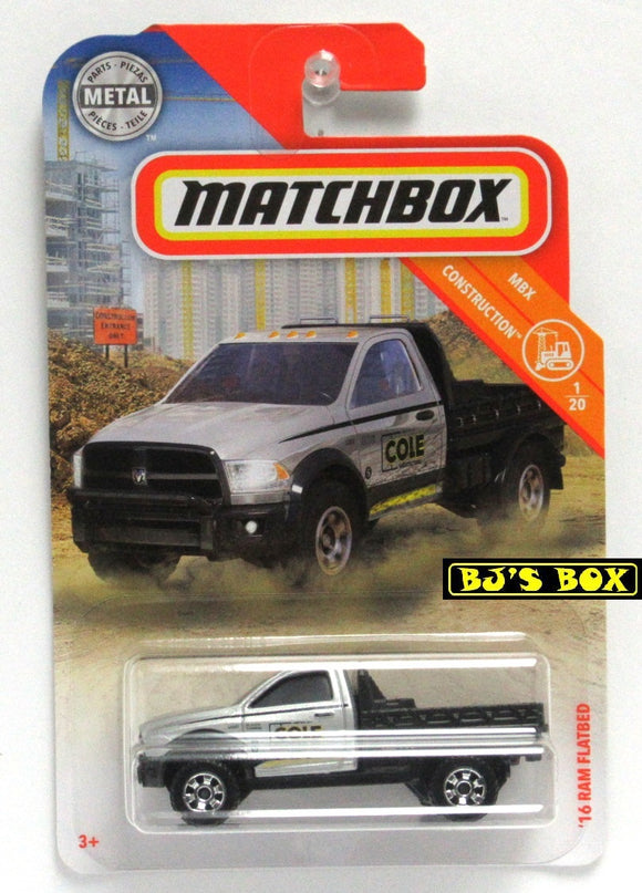 2019 Matchbox '16 RAM FLATBED #24 MBX Construction 1/20 Flat Deck Work Truck New