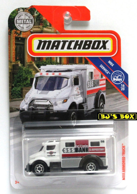 2019 Matchbox MBX ARMORED TRUCK #85 White 16/20 Comthax Bank MBX Service New