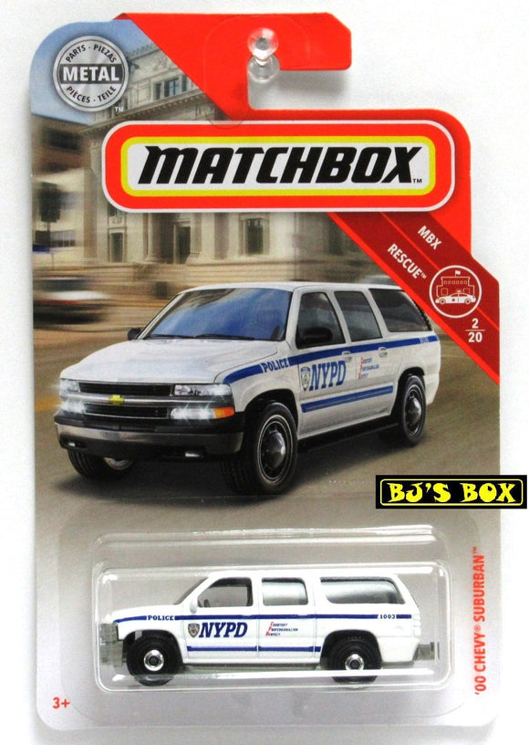 2019 Matchbox '00 CHEVY SUBURBAN #54 NYPD Police White 2/20 MBX Rescue New