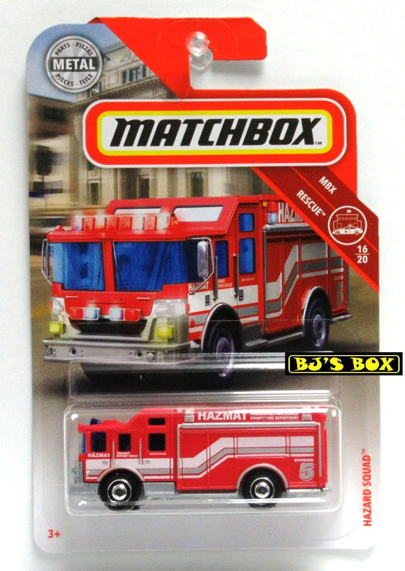 2019 Matchbox HAZARD SQUAD #60 Red/White HAZMAT Fire Truck 16/20 MBX Rescue New