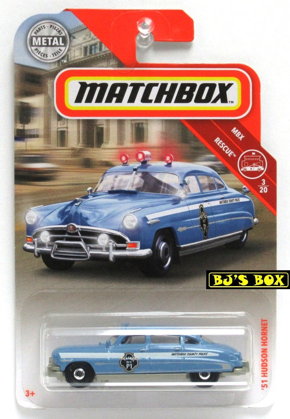 2019 Matchbox '51 HUDSON HORNET #57 MBX Rescue 3/20 Blue White Police Patrol Car New