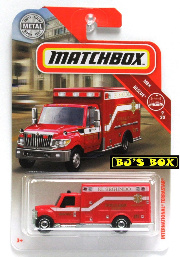 2019 Matchbox INTERNATIONAL TERRASTAR #41 MBX Rescue 9/20 Ambulance Red New