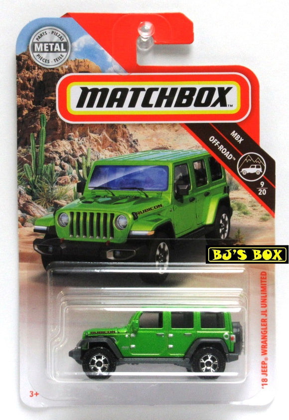 2019 Matchbox '18 JEEP WRANGLER JL UNLIMITED #62 Green 9/20 MBX Off-Road New