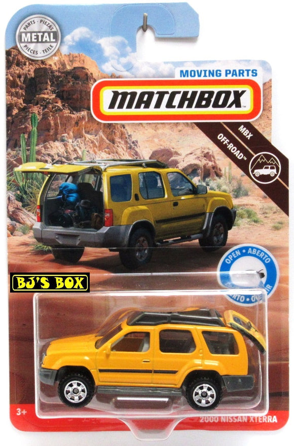 2019 Matchbox Moving Parts 2000 NISSAN XTERRA Yellow 4x4 SUV Hatch Works New