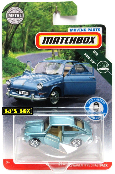 2019 Matchbox Moving Parts 65 VOLKSWAGEN TYPE 3 FASTBACK Light Blue VW Doors Work New