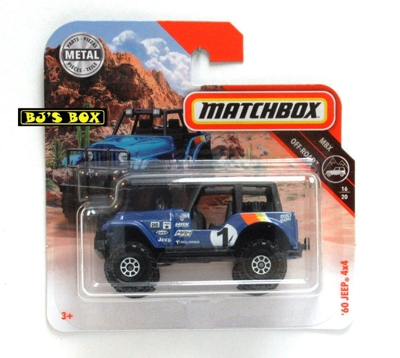 2018 Matchbox '60 JEEP 4X4 Short Card Blue 16/20 MBX Off-Road #109 New