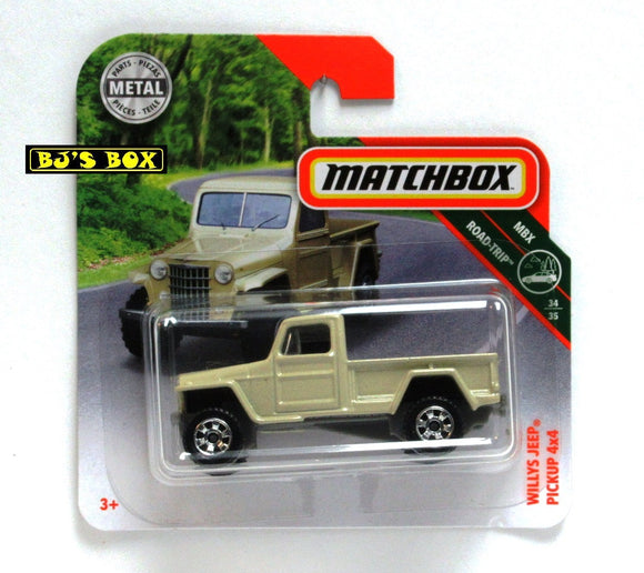2018 Matchbox WILLYS JEEP PICKUP 4X4 Short Card 34/35 MBX Road-Trip #123 New