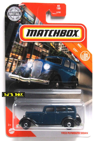 2020 Matchbox 1933 PLYMOUTH SEDAN Blue 4dr Antique Car #40/100 MBX City New