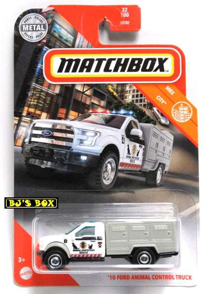 2020 Matchbox '10 FORD ANIMAL CONTROL TRUCK White #32/100 MBX City New