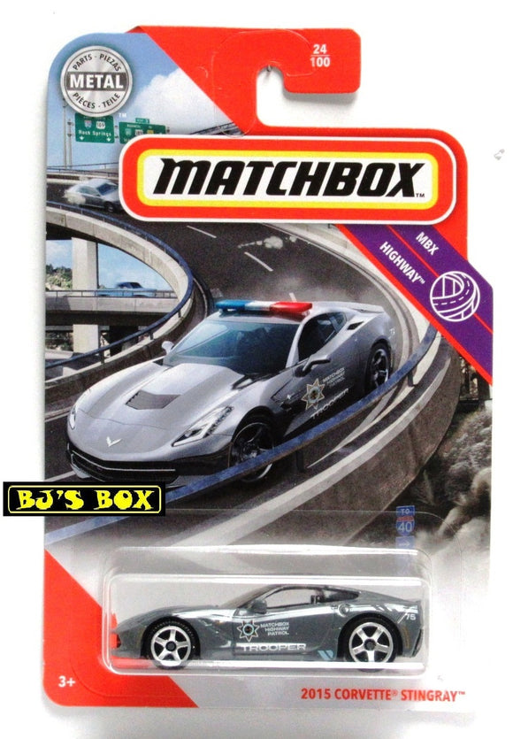2020 Matchbox 2015 CORVETTE STINGRAY 24/100 Gray Police Patrol MBX Highway New