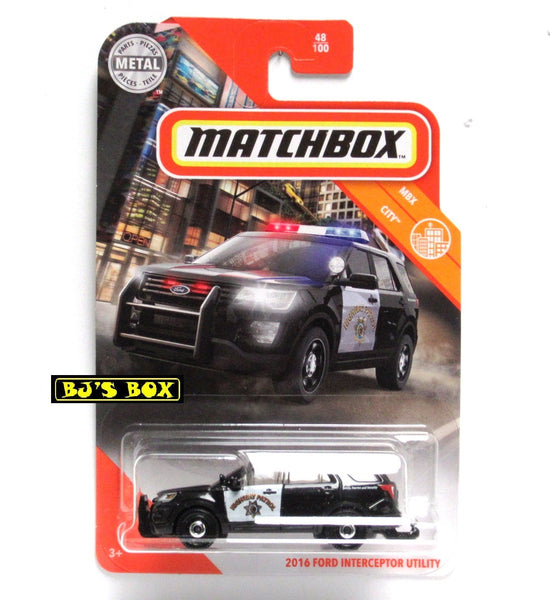 2020 Matchbox 2016 FORD INTERCEPTOR UTILITY Police 48/100 Highway Patrol MBX City New