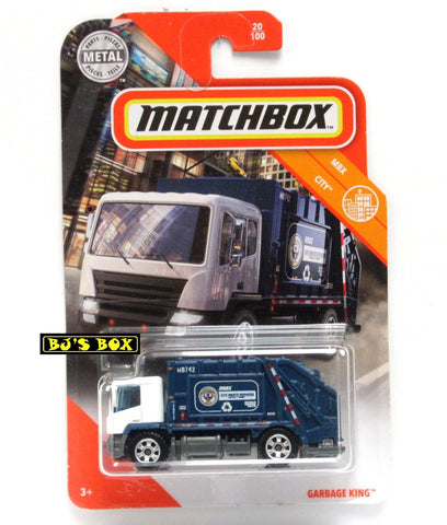 2020 Matchbox GARBAGE KING 20/100 Blue White Waste Trash Truck MBX City New