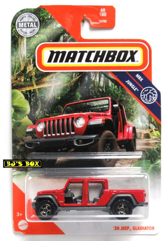 2020 Matchbox '20 JEEP GLADIATOR Red No Doors #60/100 MBX Jungle New