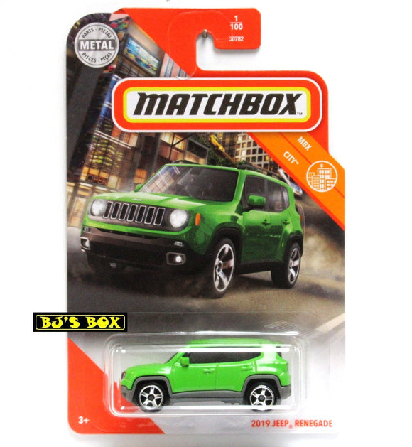 2020 Matchbox 2019 JEEP RENEGADE 1/100 Bright Green 4x4 SUV MBX City New