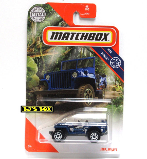 2020 Matchbox JEEP WILLYS Blue Vintage Military 68/100 MBX Jungle 4x4 New