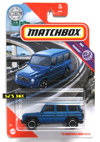 2020 Matchbox 2015 MERCEDES-BENZ G550 Blue G-Wagon #36/100 MBX Highway New