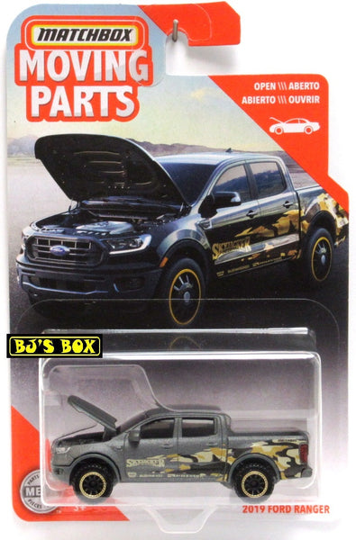 2020 Matchbox Moving Parts 2019 FORD RANGER Gray Matte 4x4 Pickup Hood Works New