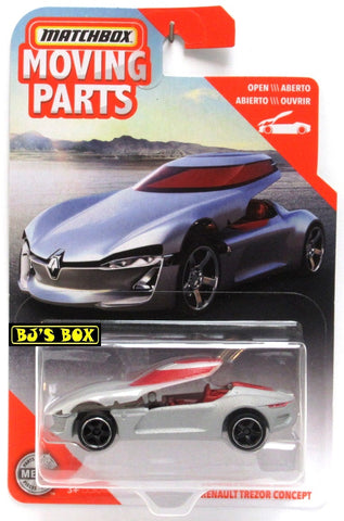 2020 Matchbox Moving Parts RENAULT TREZOR CONCEPT Silver Matte Top Opens New