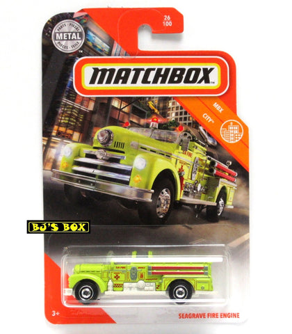 2020 Matchbox SEAGRAVE FIRE ENGINE 26/100 Antique Fire Truck Green MBX City New