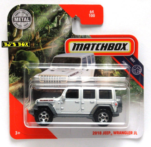 2020 Matchbox 2018 JEEP WRANGLER JL Rubicon White 4dr 64/100 Short Card MBX Jungle New