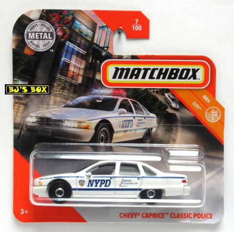 2020 Matchbox CHEVY CAPRICE CLASSIC POLICE White Blue NYPD 7/100 MBX City Short Card New