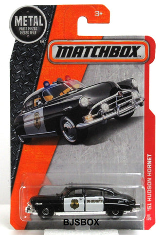 2017 Matchbox '51 HUDSON HORNET #57/125 Black & White Police Patrol Car MBX Heroic Rescue New