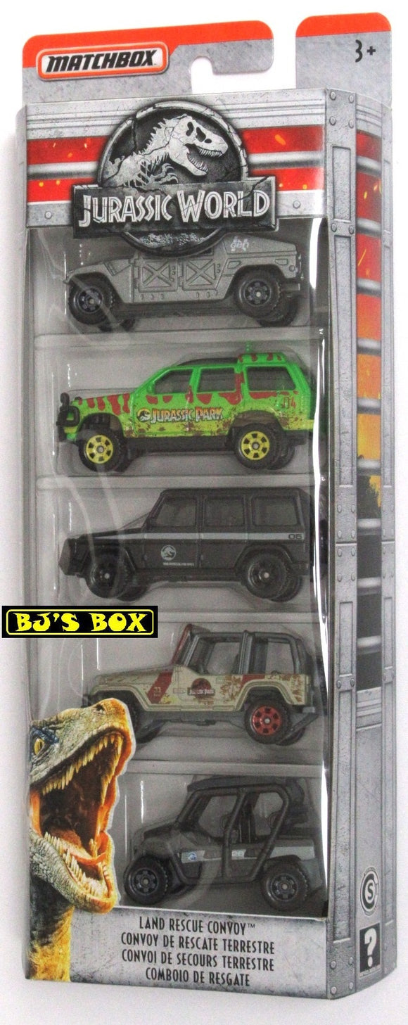 2018 Matchbox Jurassic World LAND RESCUE CONVOY Collector 5 Pack Jeep Explorer New