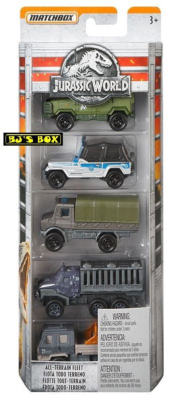2018 Matchbox Jurassic World ALL TERRAIN FLEET Collector 5 Pack Jeep Unimog Rare New