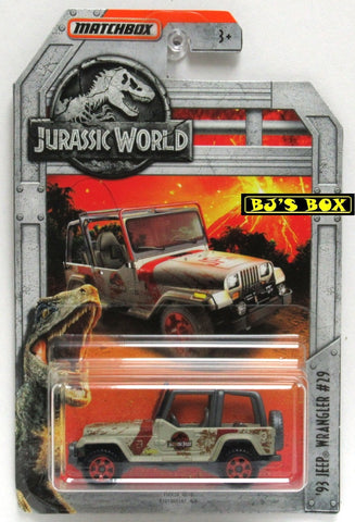 2018 Matchbox Jurassic World '93 JEEP WRANGLER #29 (#14 of 18) Tan YJ 4x4 New