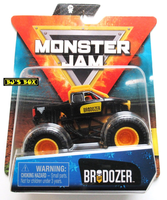 Monster Jam Trucks BRODOZER Authentic 1/64 True Metal Series #10 Truck with Poster Spin Master New