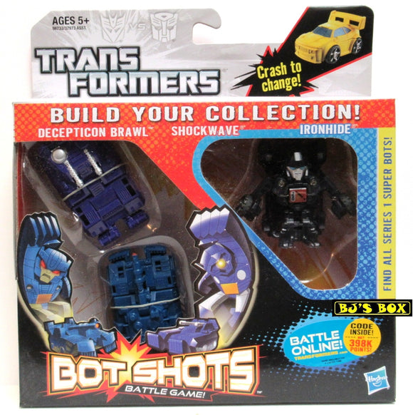 Transformers Bot Shots DECEPTICON BRAWL SHOCKWAVE IRONHIDE Figure 3 Pack Battle Game Series #1 New