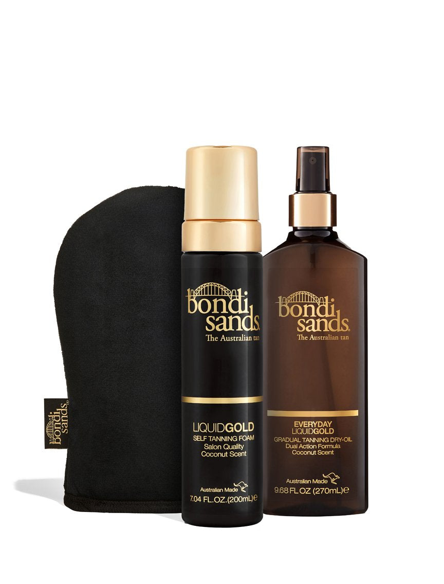 Mama's Bundle Containing Liquid Gold Self-Tanning Foam, Liquid Gold Dry Oil and Application Mitt