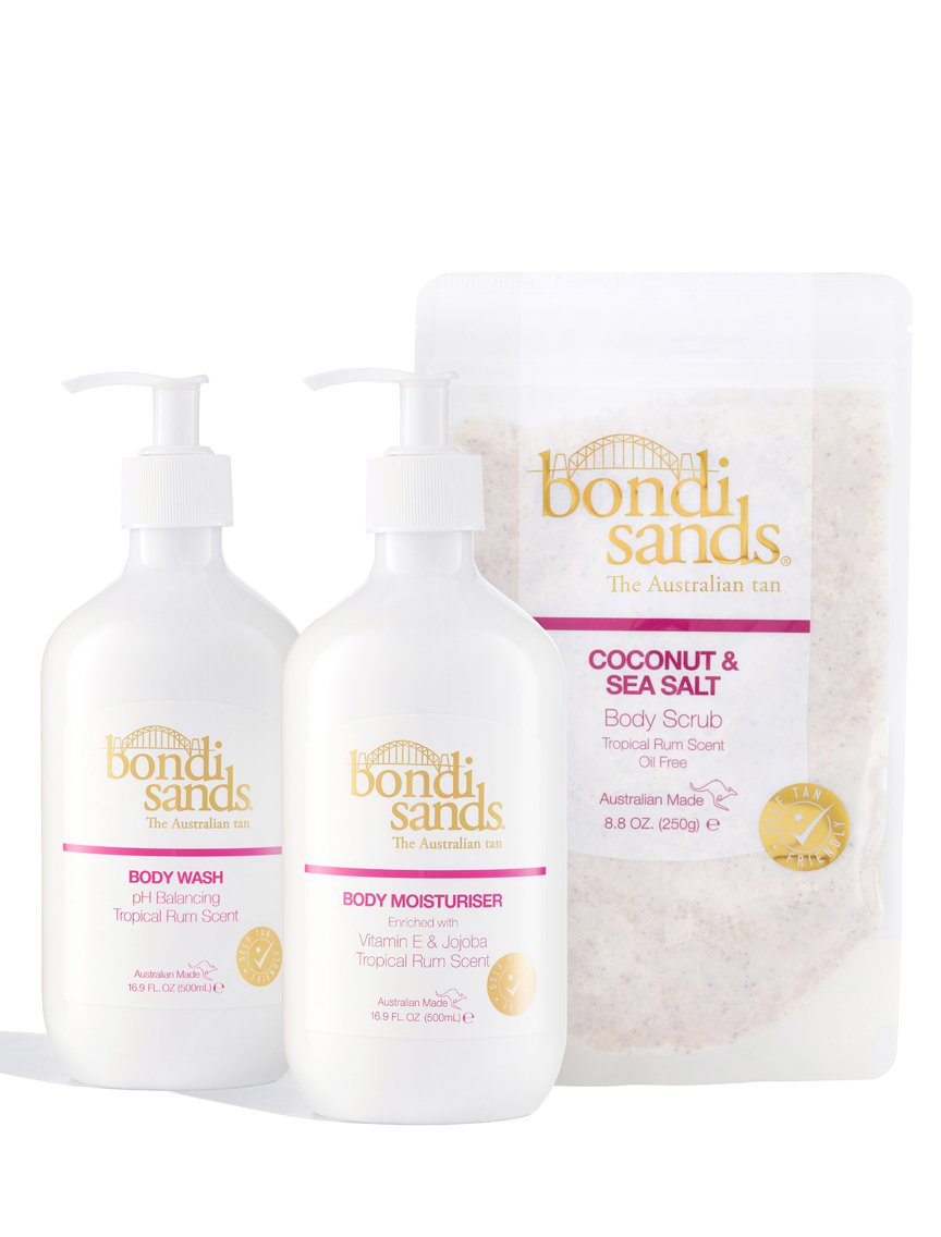 Tropical Rum Bodycare Bundle Containing Tropical Rum Body Wash, Moisturiser and Sea Salt Exfoliator