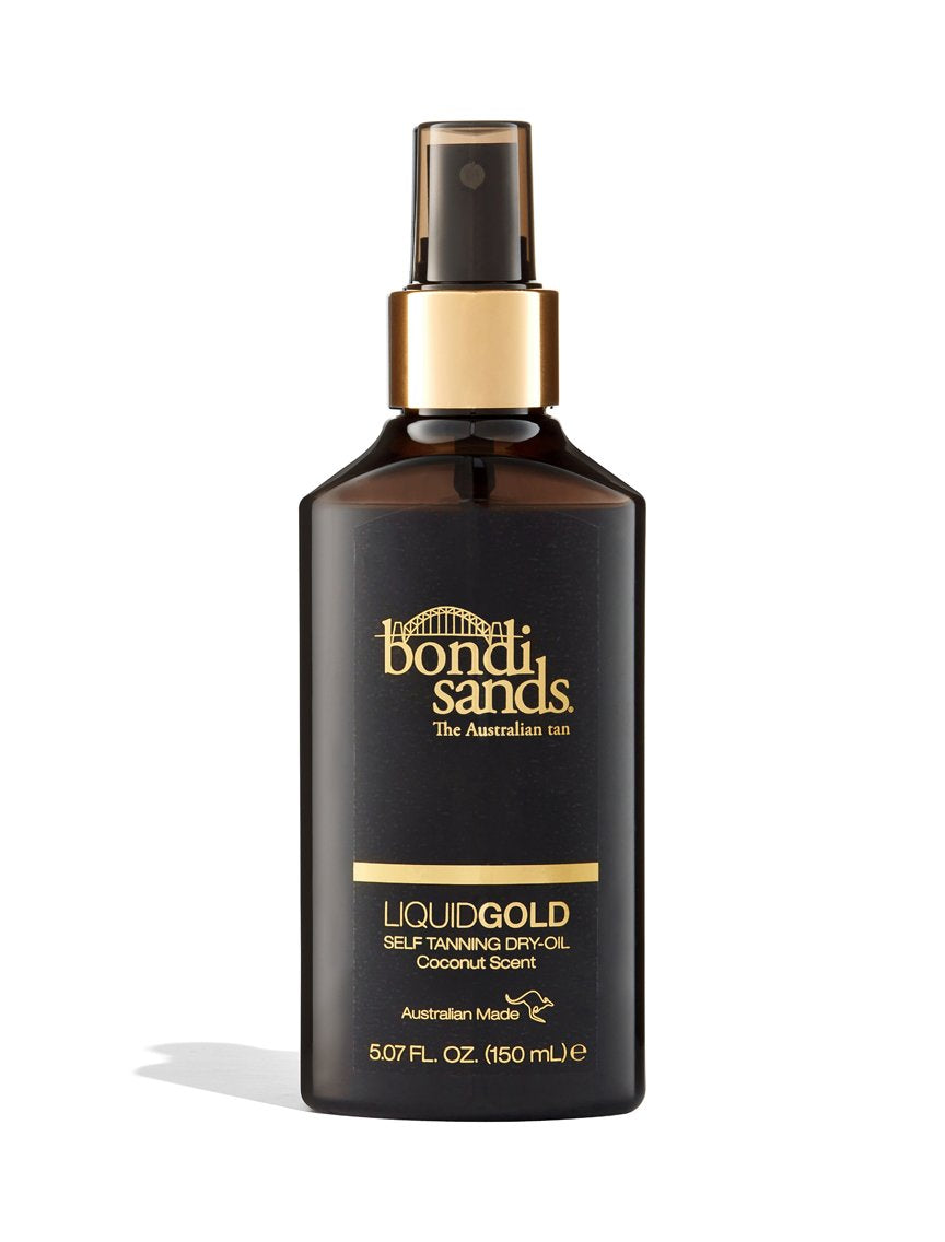 Liquid Gold Self-Tanning Dry Oil for Most Skin Tones in a Spray Bottle