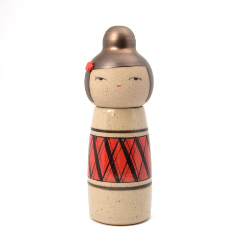 Modern Argyle Kokeshi-Inspired Ceramic Doll