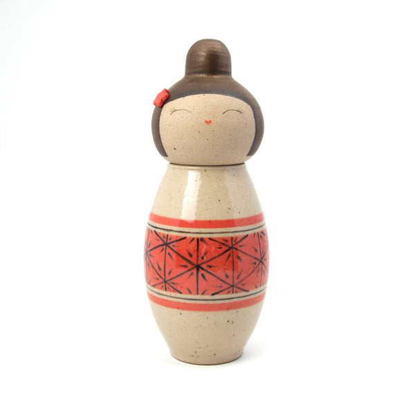 Hand-Painted Asanoha Kokeshi-Inspired Ceramic Doll