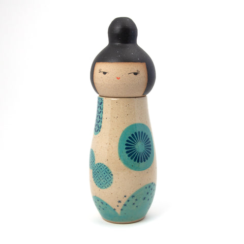 Tall Blue Whimsical Landscape Kokeshi-Inspired Ceramic Doll
