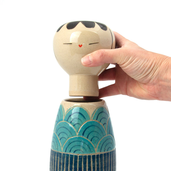 Carved Turquoise Seigaiha Kokeshi-Inspired Ceramic Doll