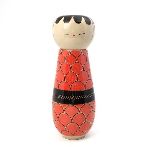 Red Fish Scale Kokeshi-Inspired Ceramic Doll
