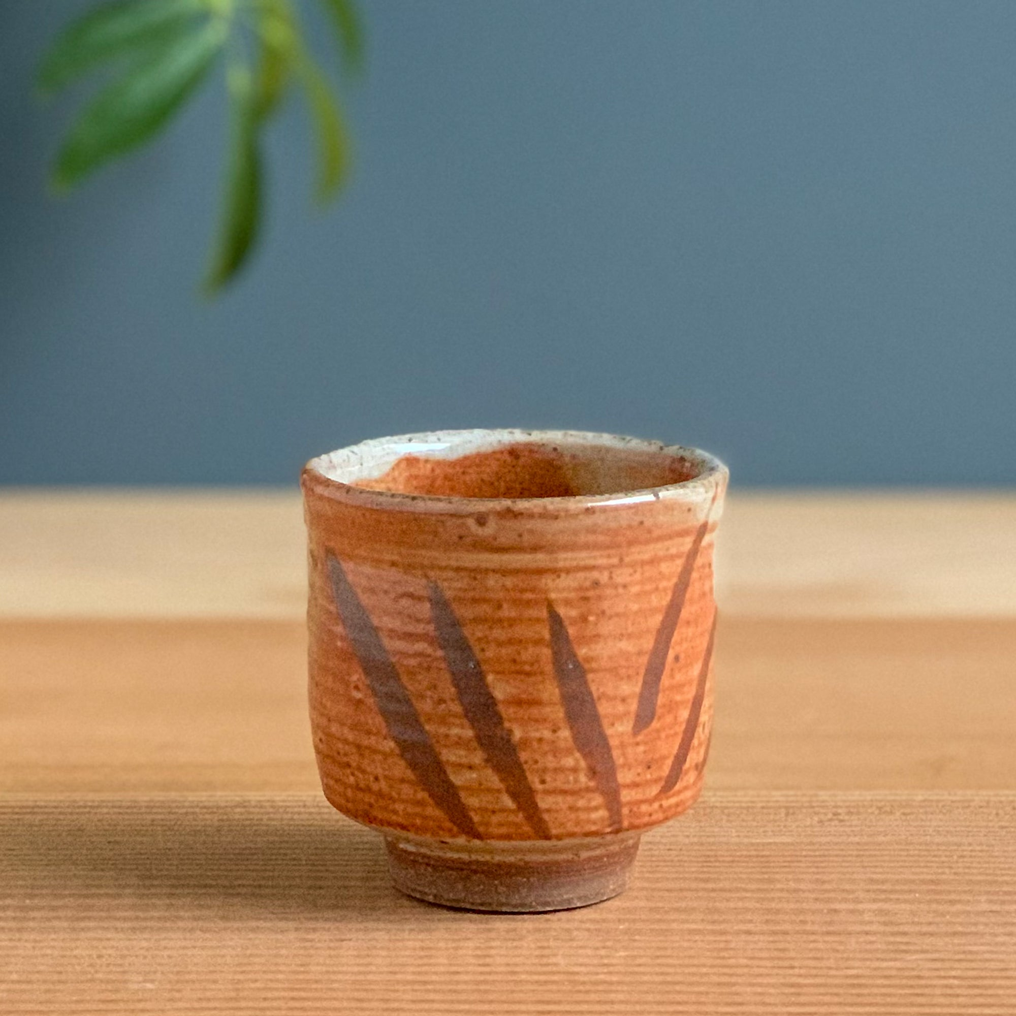 Small Shino Cup with Iron Oxide Decoration