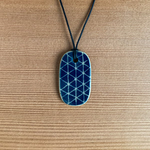 Sgraffito Ceramic Pendant - Indigo Triangles
