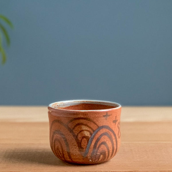 Set of Shino Cups with Iron Oxide Decoration