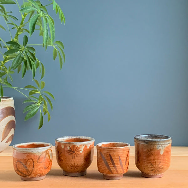 Small Shino Cup with Iron Oxide Flowers