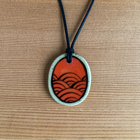 Hand-painted Ceramic Pendant - Red Seigaiha Waves
