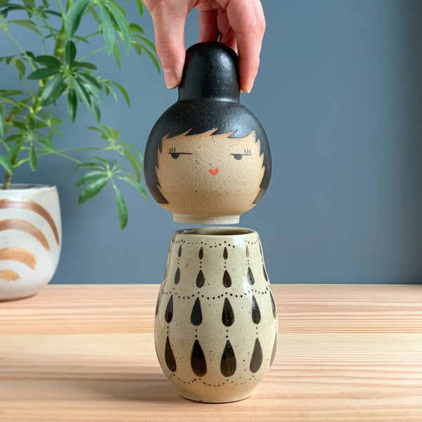 Teardrop Chandelier Kokeshi-Inspired Ceramic Doll