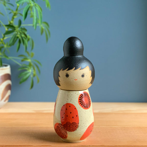 Bright & Whimsical Kokeshi-Inspired Ceramic Doll