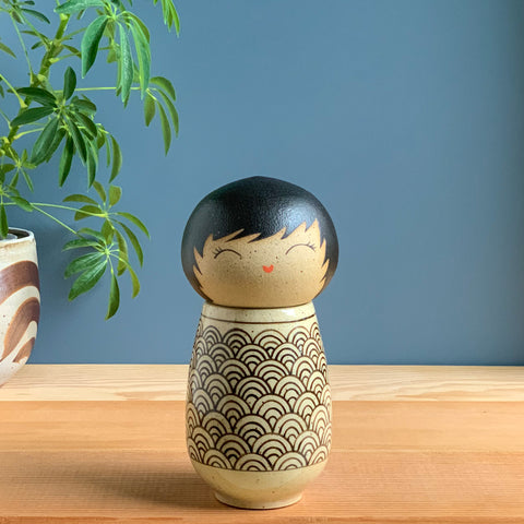 Black Seigaiha Kokeshi-Inspired Ceramic Doll