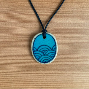 Hand-painted Ceramic Pendant - Turquoise Seigaiha Waves