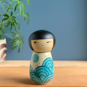 Blue Moon Kokeshi-Inspired Ceramic Doll