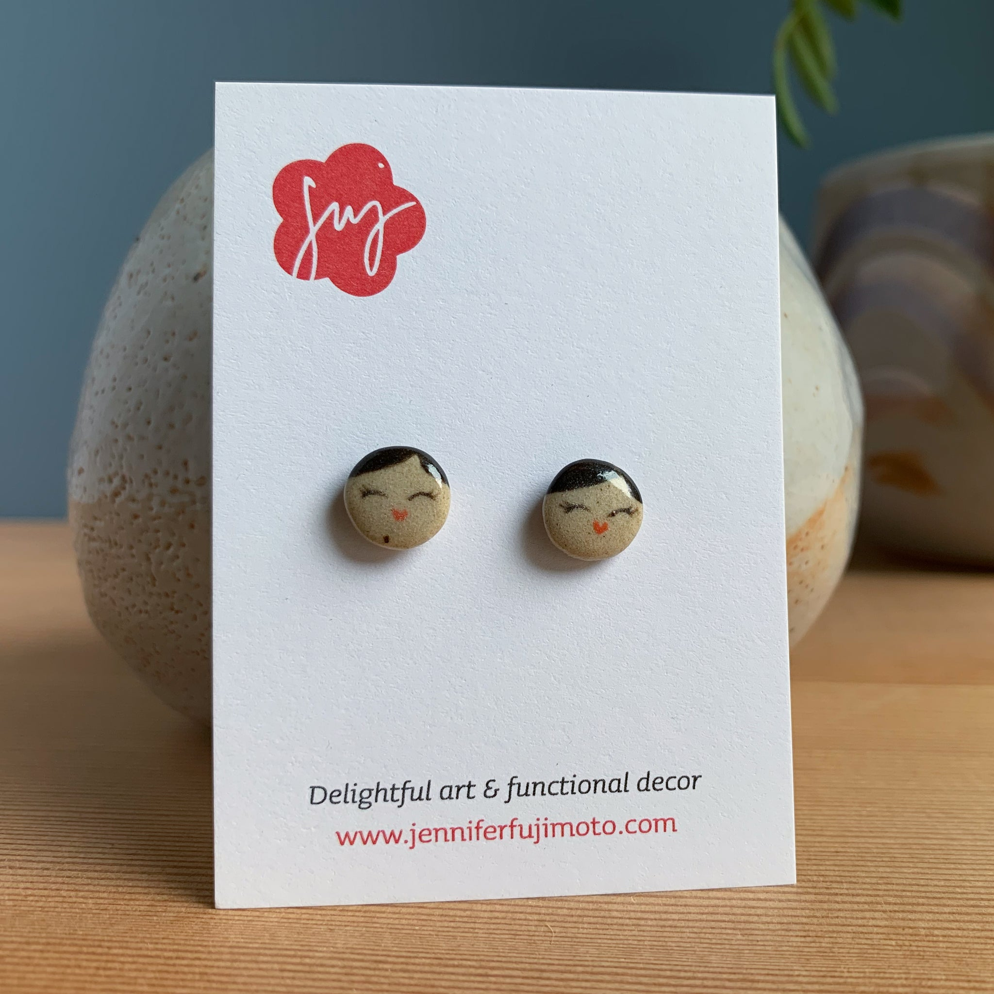 Cheerful Side Part Hand-painted Ceramic Earrings